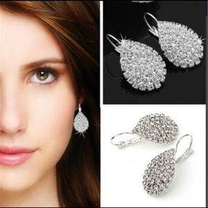 Jewelry - Silver Water Drop Diamond Fashion Earrings
